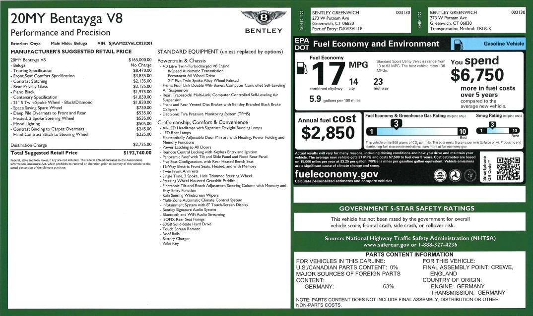 New 2020 Bentley Bentayga V8   Greenwich, CT