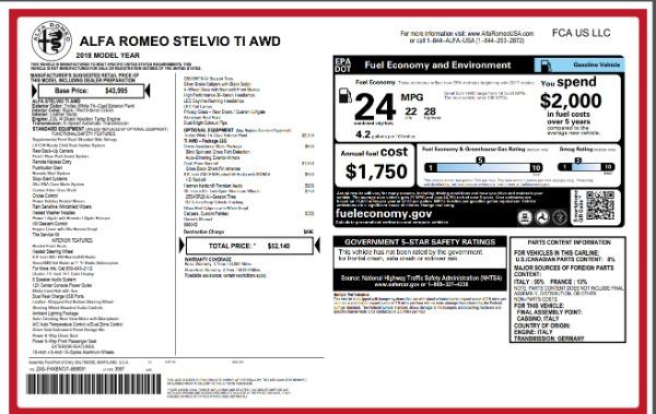 New 2018 Alfa Romeo Stelvio Ti Q4 for sale Sold at Pagani of Greenwich in Greenwich CT 06830 26