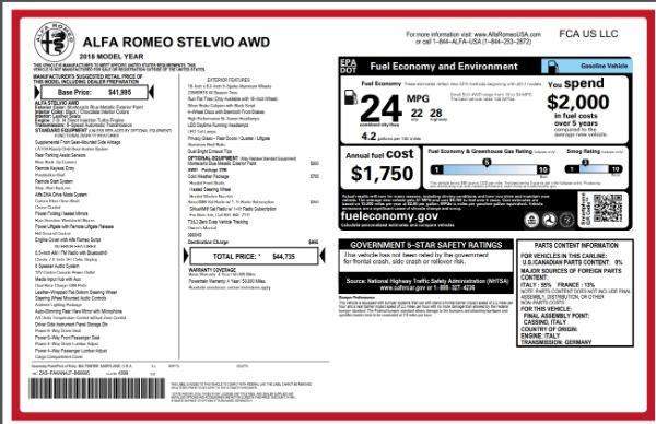 New 2018 Alfa Romeo Stelvio Q4 for sale Sold at Pagani of Greenwich in Greenwich CT 06830 26
