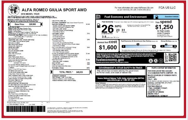 New 2018 Alfa Romeo Giulia Sport Q4 for sale Sold at Pagani of Greenwich in Greenwich CT 06830 20