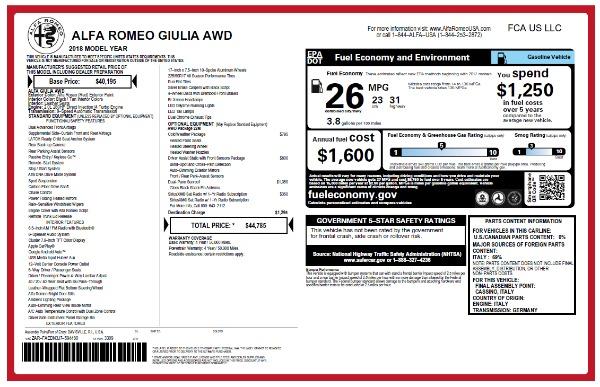 New 2018 Alfa Romeo Giulia Q4 for sale Sold at Pagani of Greenwich in Greenwich CT 06830 2