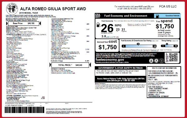 New 2019 Alfa Romeo Giulia Sport Q4 for sale Sold at Pagani of Greenwich in Greenwich CT 06830 24