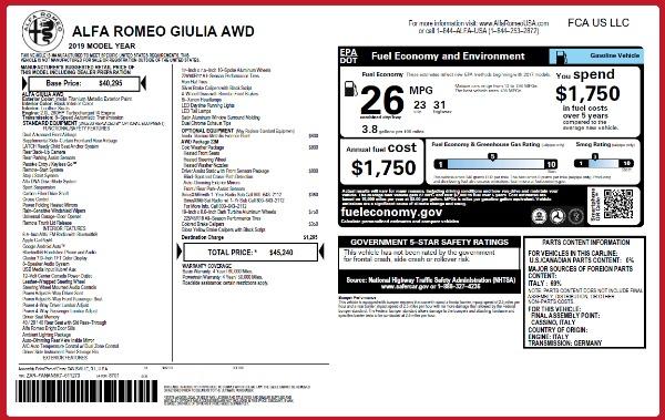 New 2019 Alfa Romeo Giulia Q4 for sale Sold at Pagani of Greenwich in Greenwich CT 06830 21