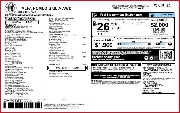 Used 2020 Alfa Romeo Giulia Q4 for sale $34,900 at Pagani of Greenwich in Greenwich CT 06830 24
