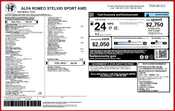 New 2020 Alfa Romeo Stelvio Sport Q4 for sale $50,790 at Pagani of Greenwich in Greenwich CT 06830 2