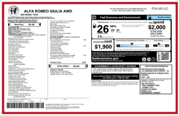 New 2020 Alfa Romeo Giulia Q4 for sale Sold at Pagani of Greenwich in Greenwich CT 06830 2