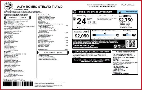 New 2020 Alfa Romeo Stelvio Ti Q4 for sale $51,045 at Pagani of Greenwich in Greenwich CT 06830 2