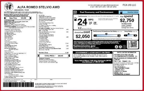 New 2020 Alfa Romeo Stelvio Q4 for sale $49,045 at Pagani of Greenwich in Greenwich CT 06830 2