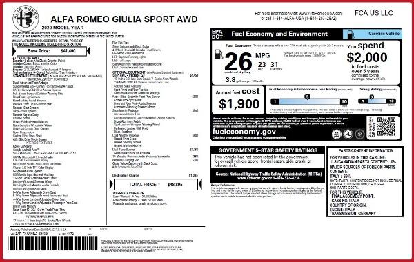 New 2020 Alfa Romeo Giulia Sport Q4 for sale $48,895 at Pagani of Greenwich in Greenwich CT 06830 23