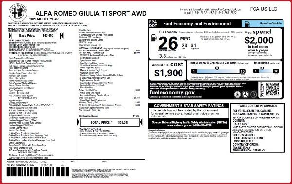 New 2020 Alfa Romeo Giulia Ti Sport Q4 for sale $51,095 at Pagani of Greenwich in Greenwich CT 06830 2