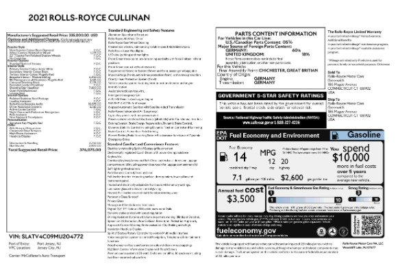 2021 Rolls-Royce Cullinan for sale Sold at Pagani of Greenwich in Greenwich CT 06830 9