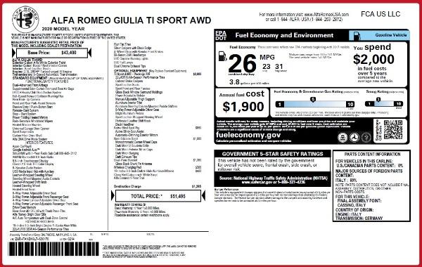 New 2020 Alfa Romeo Giulia Ti Sport Q4 for sale $51,495 at Pagani of Greenwich in Greenwich CT 06830 28