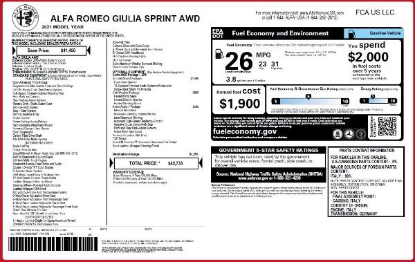 New 2021 Alfa Romeo Giulia Q4 for sale $45,735 at Pagani of Greenwich in Greenwich CT 06830 28