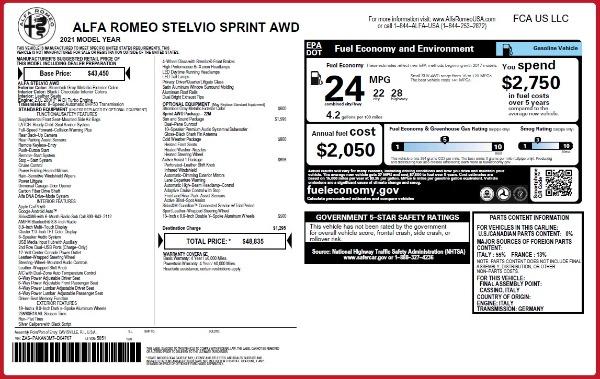 New 2021 Alfa Romeo Stelvio Q4 for sale $48,835 at Pagani of Greenwich in Greenwich CT 06830 28
