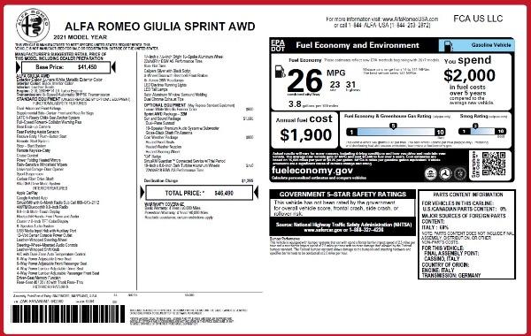 New 2021 Alfa Romeo Giulia Q4 for sale $46,490 at Pagani of Greenwich in Greenwich CT 06830 26
