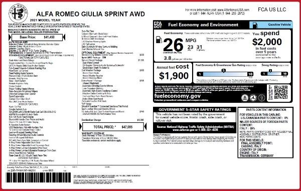 New 2021 Alfa Romeo Giulia Q4 for sale $47,085 at Pagani of Greenwich in Greenwich CT 06830 28