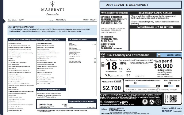 New 2021 Maserati Levante Q4 GranSport for sale $88,285 at Pagani of Greenwich in Greenwich CT 06830 2