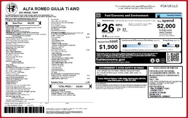 New 2021 Alfa Romeo Giulia Ti Q4 for sale $52,600 at Pagani of Greenwich in Greenwich CT 06830 28