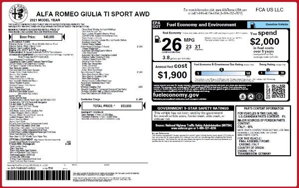 New 2021 Alfa Romeo Giulia Ti Sport Q4 for sale $53,850 at Pagani of Greenwich in Greenwich CT 06830 25