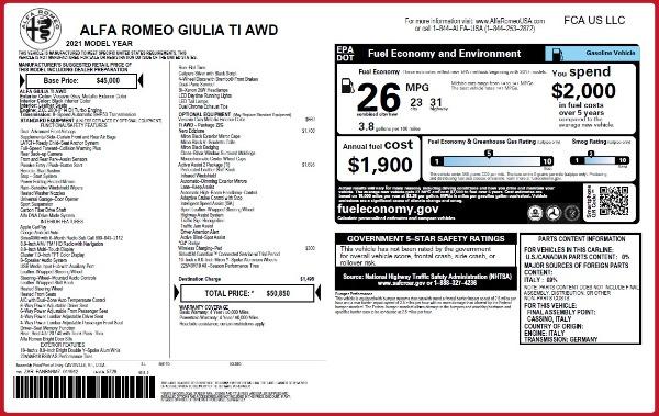 New 2021 Alfa Romeo Giulia Ti Q4 for sale $50,850 at Pagani of Greenwich in Greenwich CT 06830 2