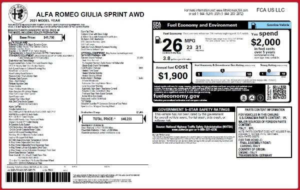 New 2021 Alfa Romeo Giulia Q4 for sale Sold at Pagani of Greenwich in Greenwich CT 06830 2