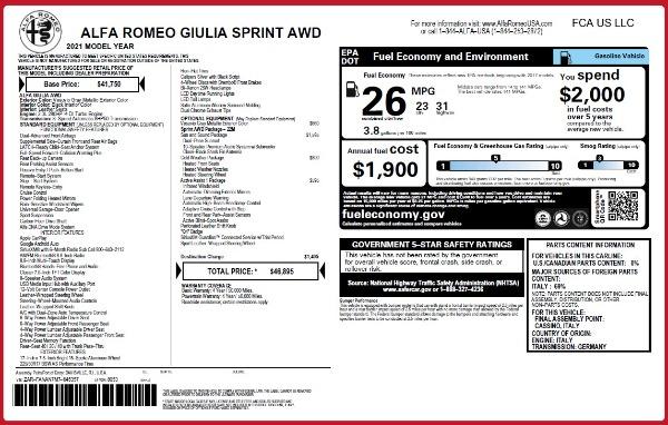 New 2021 Alfa Romeo Giulia Q4 for sale $46,895 at Pagani of Greenwich in Greenwich CT 06830 26