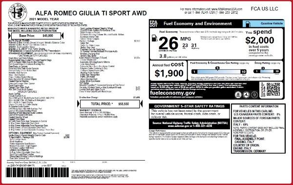 New 2021 Alfa Romeo Giulia Ti Sport Q4 for sale $55,550 at Pagani of Greenwich in Greenwich CT 06830 2