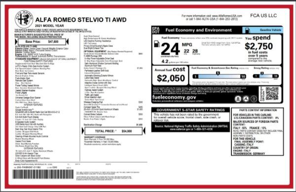 New 2021 Alfa Romeo Stelvio Ti Q4 for sale $54,000 at Pagani of Greenwich in Greenwich CT 06830 28