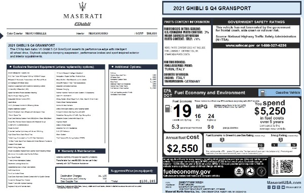 New 2021 Maserati Ghibli S Q4 GranSport for sale Call for price at Pagani of Greenwich in Greenwich CT 06830 2
