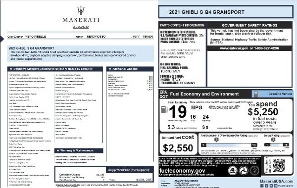 New 2021 Maserati Ghibli S Q4 GranSport for sale $100,285 at Pagani of Greenwich in Greenwich CT 06830 28