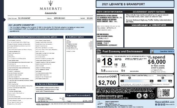 New 2021 Maserati Levante S Q4 GranSport for sale $104,835 at Pagani of Greenwich in Greenwich CT 06830 2