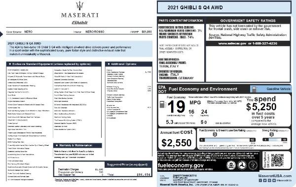 New 2021 Maserati Ghibli S Q4 for sale $86,654 at Pagani of Greenwich in Greenwich CT 06830 27