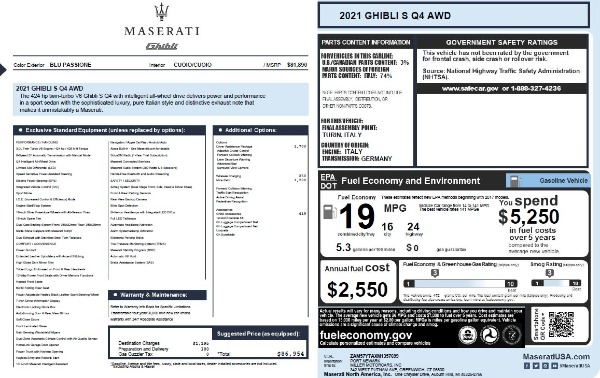 New 2021 Maserati Ghibli S Q4 for sale $86,954 at Pagani of Greenwich in Greenwich CT 06830 28
