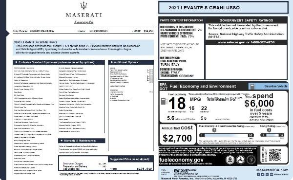New 2021 Maserati Levante S Q4 GranLusso for sale $105,549 at Pagani of Greenwich in Greenwich CT 06830 27
