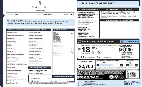 New 2021 Maserati Levante Q4 GranSport for sale $96,235 at Pagani of Greenwich in Greenwich CT 06830 26