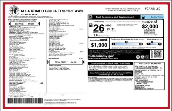 New 2021 Alfa Romeo Giulia Ti Sport for sale $54,050 at Pagani of Greenwich in Greenwich CT 06830 27