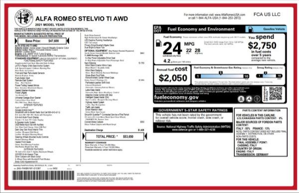 New 2021 Alfa Romeo Stelvio Ti for sale $53,650 at Pagani of Greenwich in Greenwich CT 06830 27