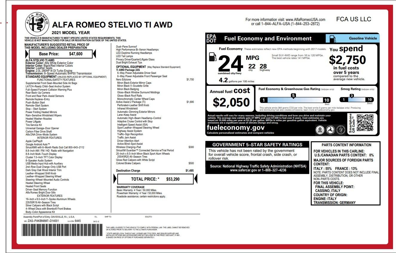 New 2021 Alfa Romeo Stelvio Ti for sale Sold at Pagani of Greenwich in Greenwich CT 06830 1