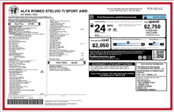 New 2021 Alfa Romeo Stelvio Ti Sport for sale $59,550 at Pagani of Greenwich in Greenwich CT 06830 2