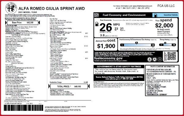 New 2021 Alfa Romeo Giulia Q4 for sale $49,195 at Pagani of Greenwich in Greenwich CT 06830 2