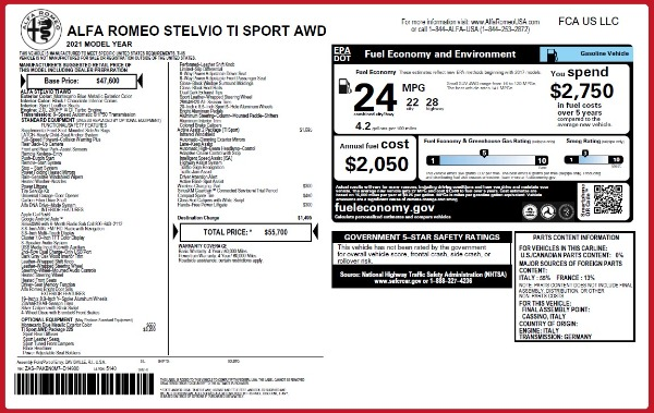 New 2021 Alfa Romeo Stelvio Ti Sport Q4 for sale $55,700 at Pagani of Greenwich in Greenwich CT 06830 27