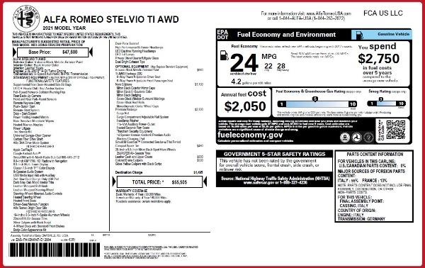 New 2021 Alfa Romeo Stelvio Ti Q4 for sale $55,505 at Pagani of Greenwich in Greenwich CT 06830 2