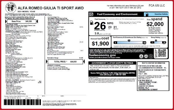 New 2021 Alfa Romeo Giulia Ti Sport Q4 for sale $54,050 at Pagani of Greenwich in Greenwich CT 06830 2