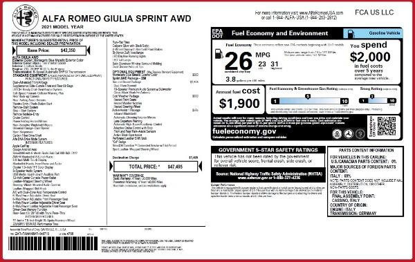 New 2021 Alfa Romeo Giulia Q4 for sale Call for price at Pagani of Greenwich in Greenwich CT 06830 23