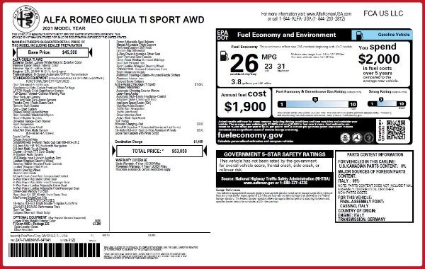 New 2021 Alfa Romeo Giulia Ti Sport Q4 for sale $53,050 at Pagani of Greenwich in Greenwich CT 06830 22