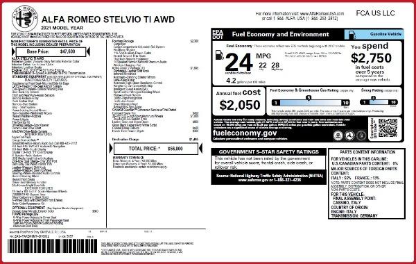 New 2021 Alfa Romeo Stelvio Ti Q4 for sale $56,800 at Pagani of Greenwich in Greenwich CT 06830 2