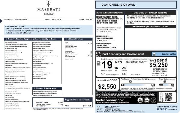 New 2021 Maserati Ghibli S Q4 for sale $89,775 at Pagani of Greenwich in Greenwich CT 06830 2