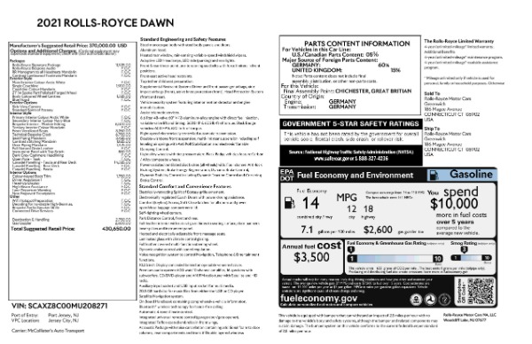New 2021 Rolls-Royce Dawn for sale Sold at Pagani of Greenwich in Greenwich CT 06830 9