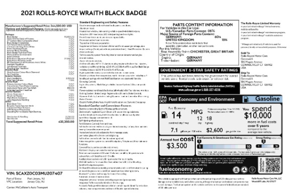 New 2021 Rolls-Royce Wraith Black Badge for sale Call for price at Pagani of Greenwich in Greenwich CT 06830 9