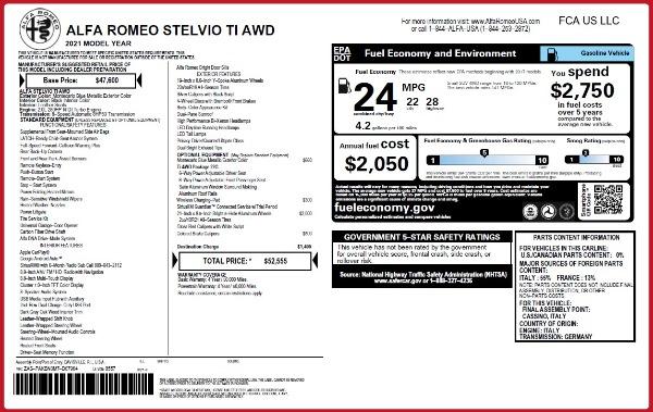 New 2021 Alfa Romeo Stelvio Ti Q4 for sale $52,555 at Pagani of Greenwich in Greenwich CT 06830 2